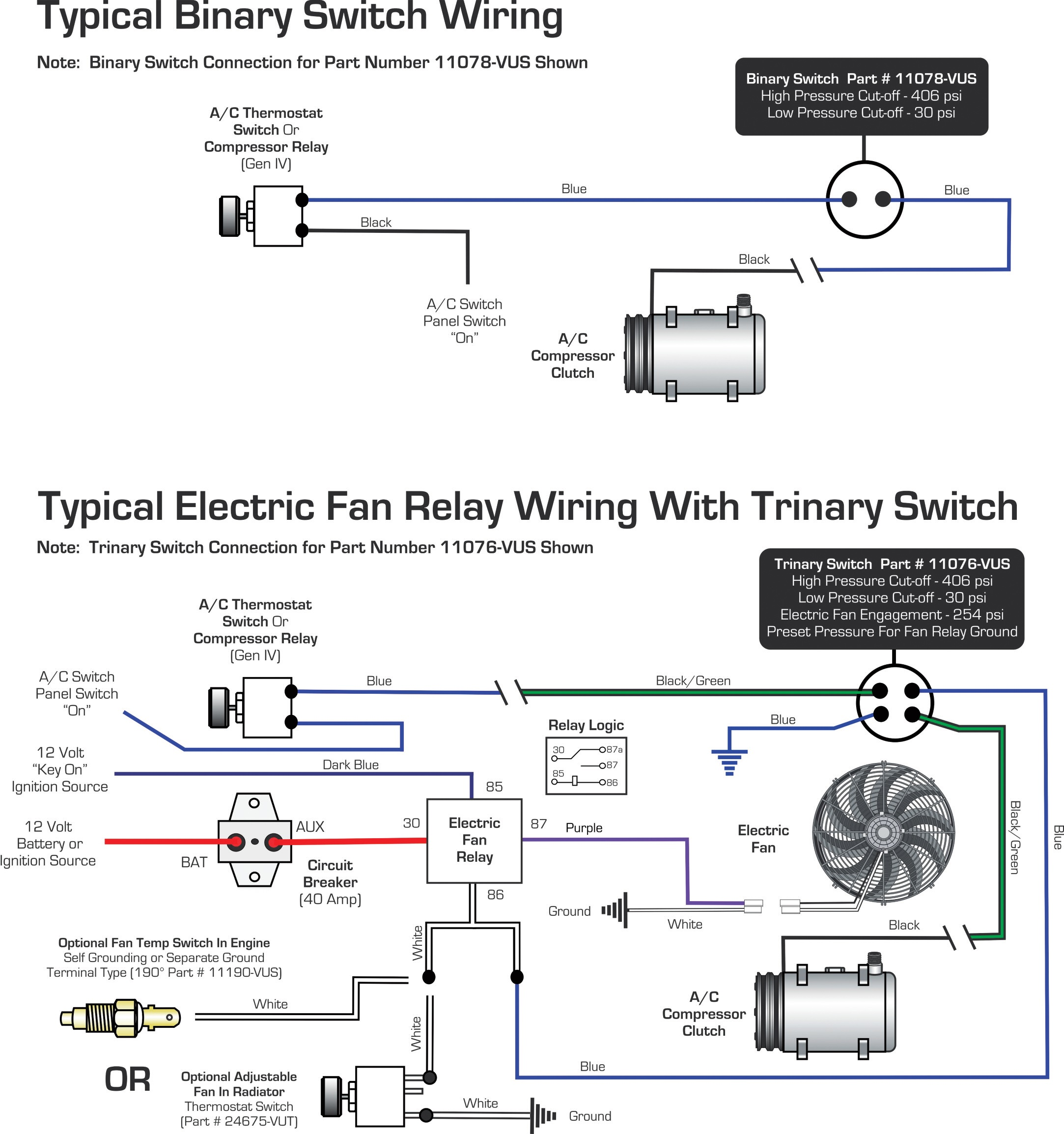 Electric Fan Relay And Trinary Switch Wiring